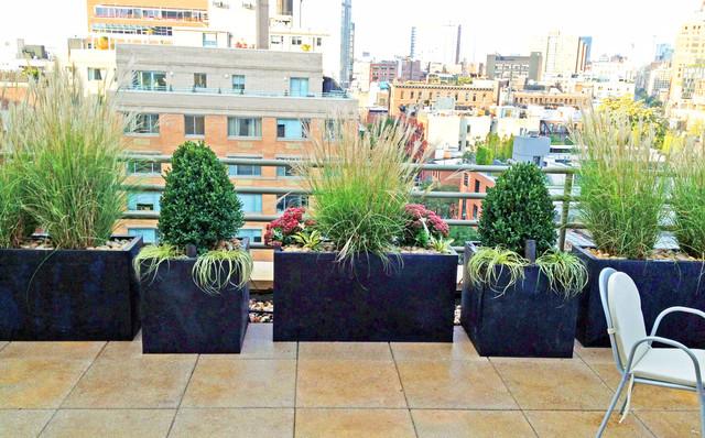 Village roof garden paver deck terrace container plants for Terrace garden plants