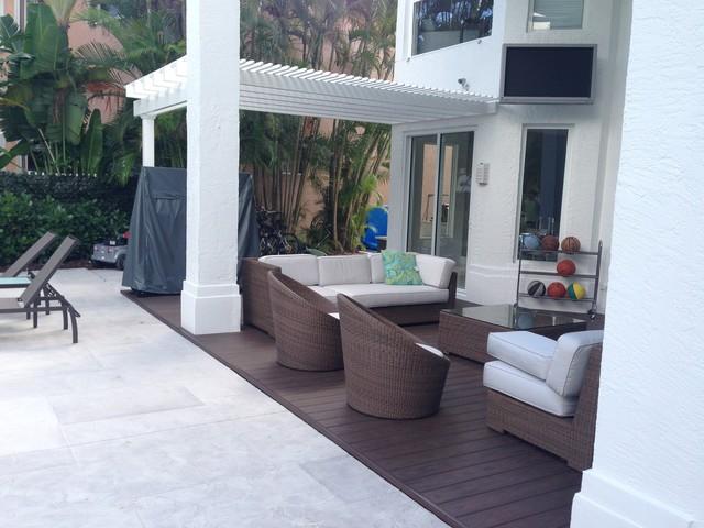 Contemporary Deck Miami Vinyl Pergola on a Composite Azek Deck contemporary-deck