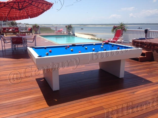 Waterproof penthouse outdoor pool table contemporary for Garden pool table room