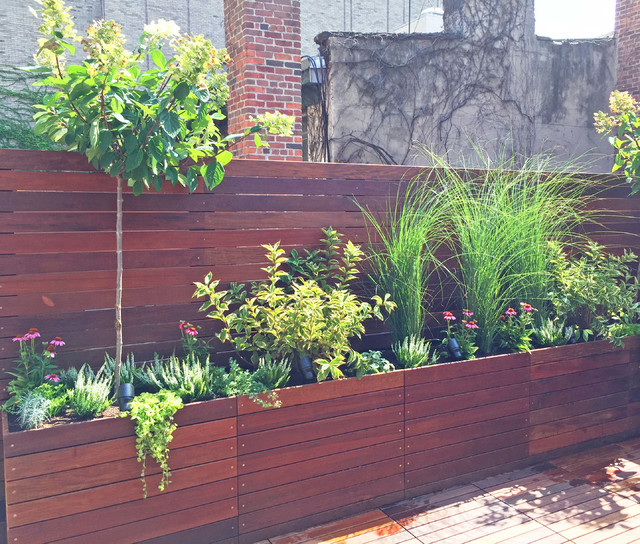 Modern Railing Planters Custom By Rushton: West Village Custom Roof Deck With Planter Boxes And Fence