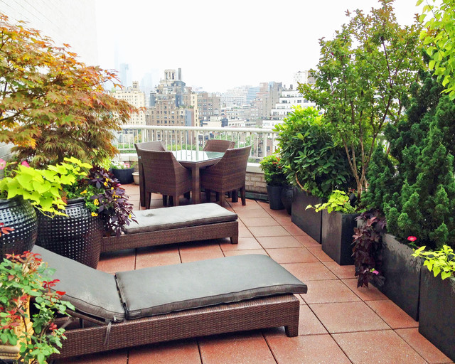 West Village Nyc Terrace Deck Roof Garden Pavers Outdoor Dining Chaisescontemporary New York