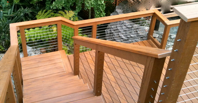wood framed cable railing systems - Modern - Home Fencing ...