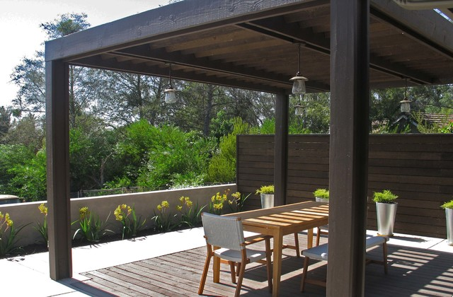 Wood trellis structure with wood inset floor : contemporary deck from www.houzz.com size 640 x 420 jpeg 89kB