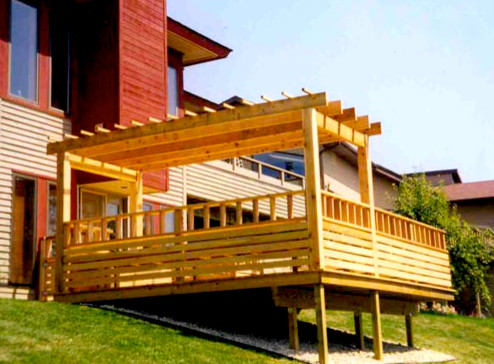 Wooden Deck With Pergola On A Hill