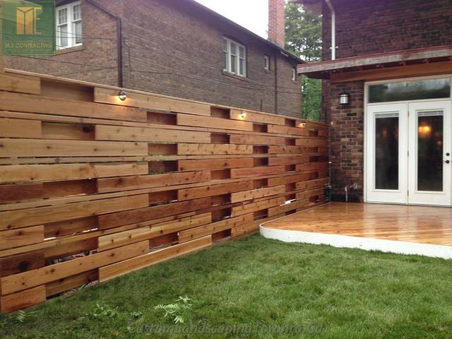 Landscaping Around Tall Deck : Wrap around deck with horizontal fence pergoal contemporary