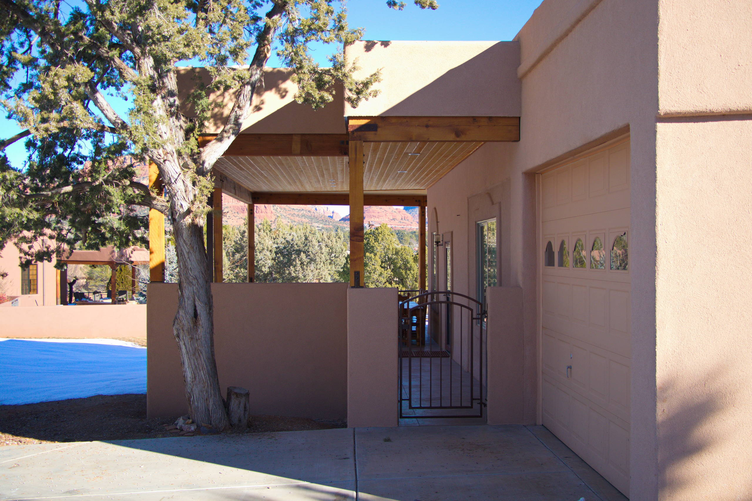 Wrap-around patio with tongue and groove ceiling