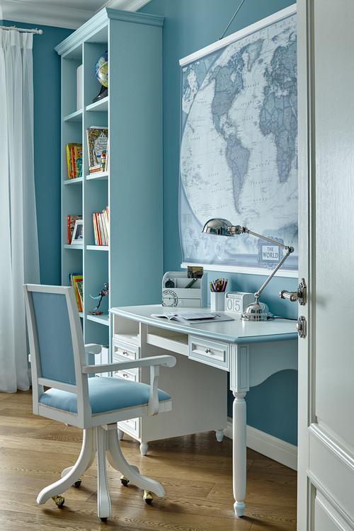 голубой цвет в отделке кабинета