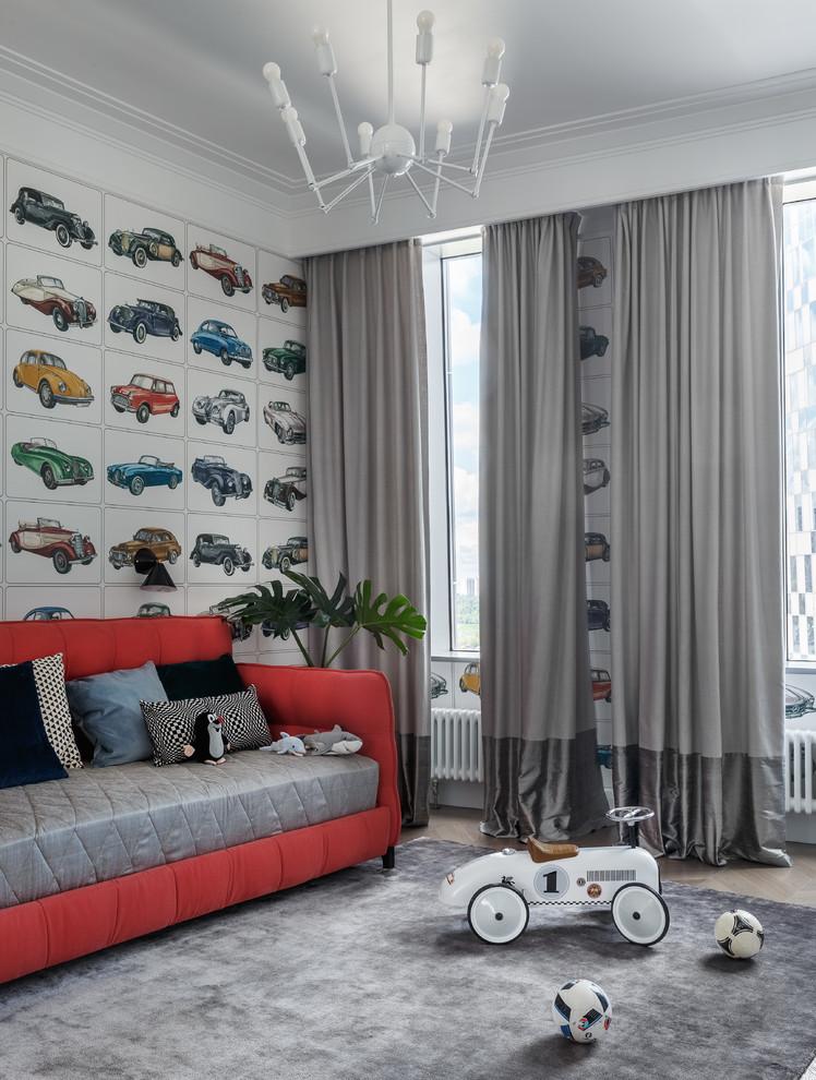 Создайте стильный интерьер: детская среднего размера в современном стиле с разноцветными стенами для мальчика - последний тренд