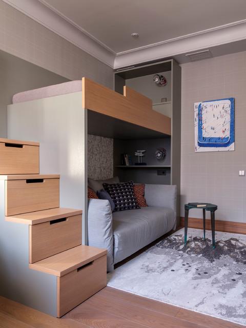 Idéer för mellanstora vintage barnrum, med grå väggar, mellanmörkt trägolv och brunt golv