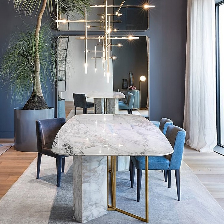 1 219 99 Modern Stylish 63 White Faux Marble Dining Table Rectangular Table In Modern Dining Room Other By Homary Limited Houzz