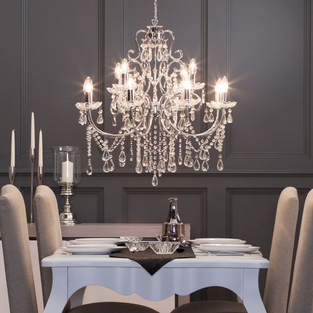 12 Light Madonna Chandelier In Chrome Victorian Dining