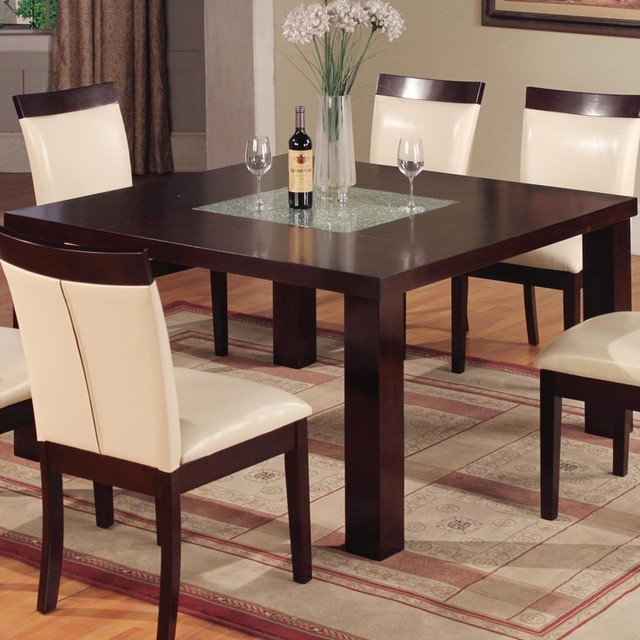 1320 square contemporary dining table with glass contemporary dining