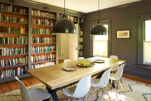 Inspiration For A Farmhouse Medium Tone Wood Floor Enclosed Dining Room  Remodel In New York With