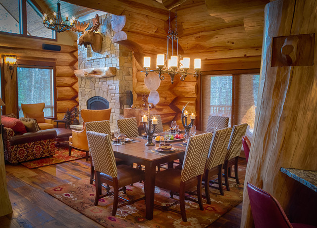 2017 Parade Home Moose Ridge Cabin Log Rustic Dining Room Denver By Mountain Homes Interiors