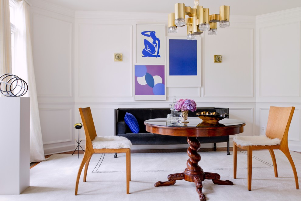 Inspiration for a contemporary dining room remodel in DC Metro with white walls