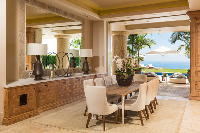 Inspiration for a large beach style dining room remodel in Los Angeles with no fireplace