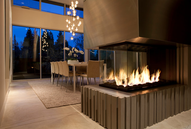 4 39 peninsula custom gas fireplace contemporary dining for Dining room fireplace