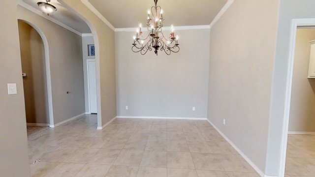 Inspiration for a timeless ceramic floor dining room remodel in Other