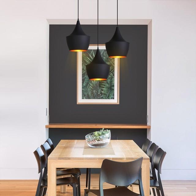 Retro Homary Black Framework Single Pendant Light Hanging Ceiling Lamp Fixture