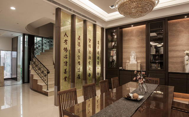A design with multiple personalities zen and religions for Asian dining room