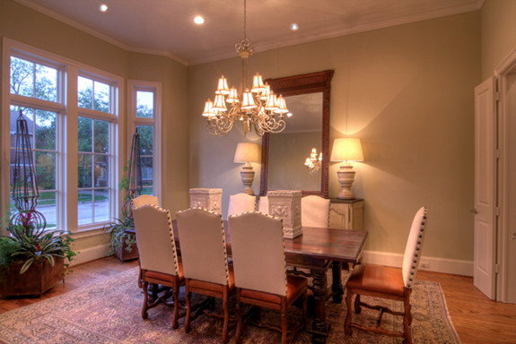 A Formal Dining Room With Bay Window