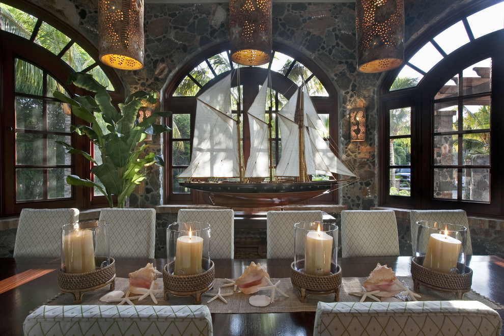 Mid-sized island style dining room photo in Other
