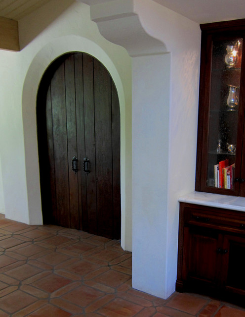 A Pair Of Rustic Spanish Style Interior Doors Mediterranean Dining Room Santa Barbara