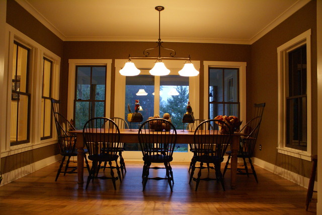 simple farmhouse dining room in hume virginia traditional dining room