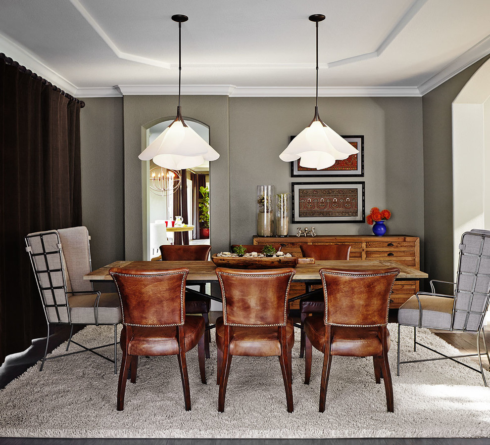 Large transitional dark wood floor kitchen/dining room combo photo in San Francisco with gray walls and no fireplace