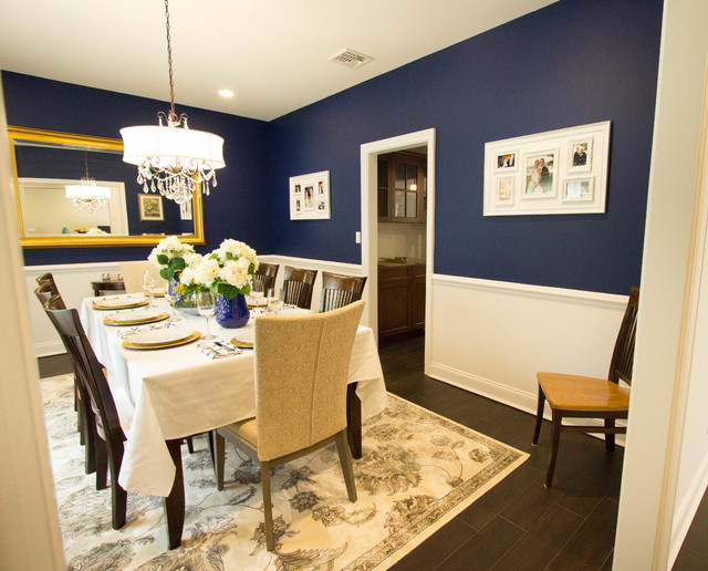 a touch of blue - formal dining room - transitional - dining room