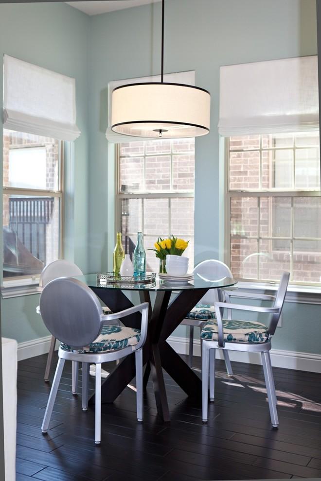 Dining room - transitional dark wood floor dining room idea in Dallas with blue walls