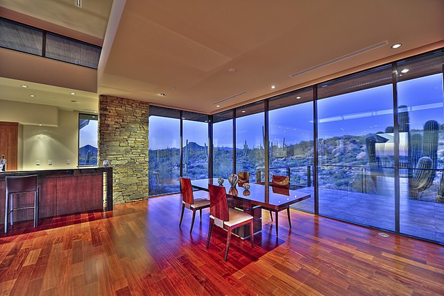 Above the Boulders contemporary-dining-room