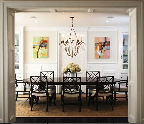 Abstract landscape oil paintings transitional dining for New traditional dining room