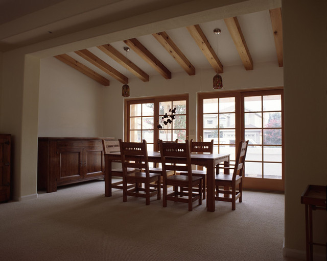 Addition with exposed wood beams contemporary dining for House plans with exposed beams