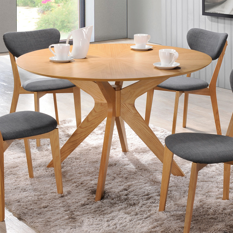 Aeon Furniture Brockton Round Dining Table In Natural Oak Midcentury Dining Room New York By Homeclick