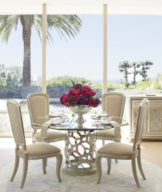 Aico After Eight Pearl Round Shaped Glass Top Dining Table