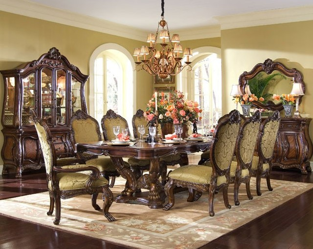 AICO Chateau Beauvais Rectangular Dining Table Set Mediterranean Dining R