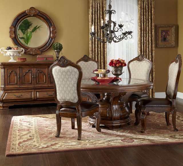 AICO Tuscano Round Dining Table Set In Melange