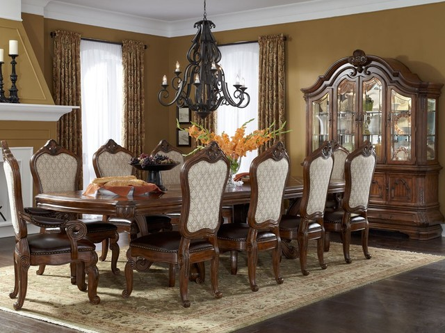 AICO Tuscano Trestle Rectangular Dining Table Set In Melange Mediterranean