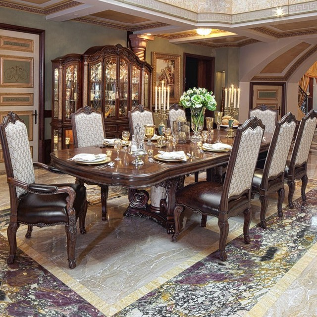 AICO Victoria Palace Rectangular Dining Room Set In Light Espresso Mediterr