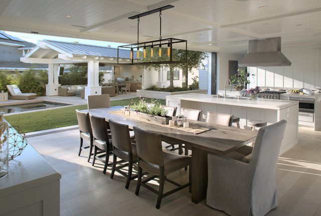 Kitchen/dining room combo - huge transitional light wood floor and beige floor kitchen/dining room combo idea in San Diego with white walls and no fireplace