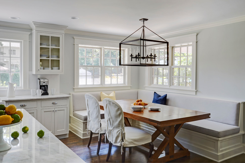 Large transitional dark wood floor kitchen/dining room combo photo in Chicago