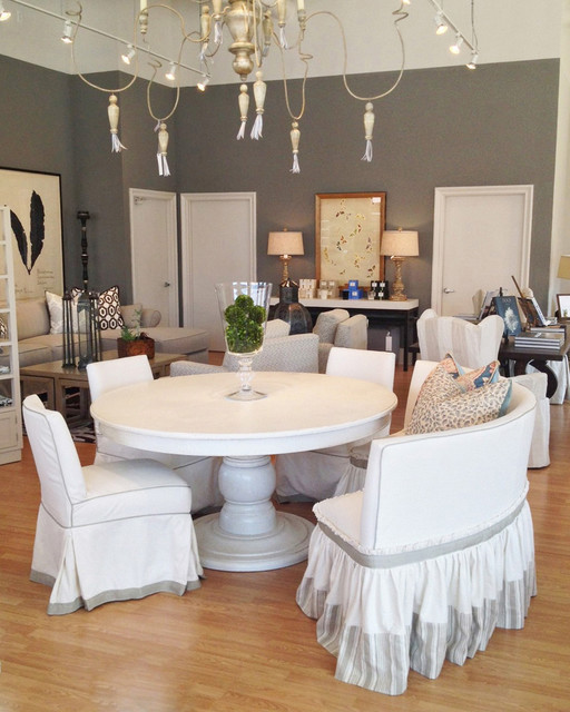 All white dining room traditional dining room los for All white dining room