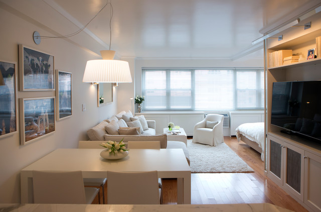 All White Studio Transitional Dining Room New York