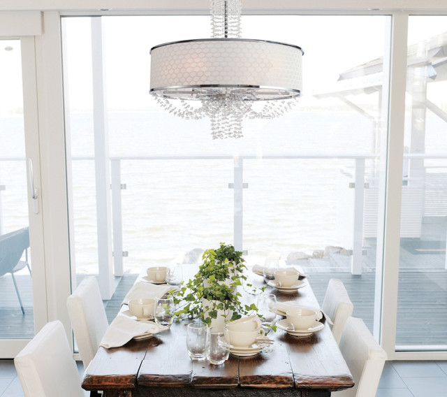 crystal chandelier with silk drum shade contemporary dining room