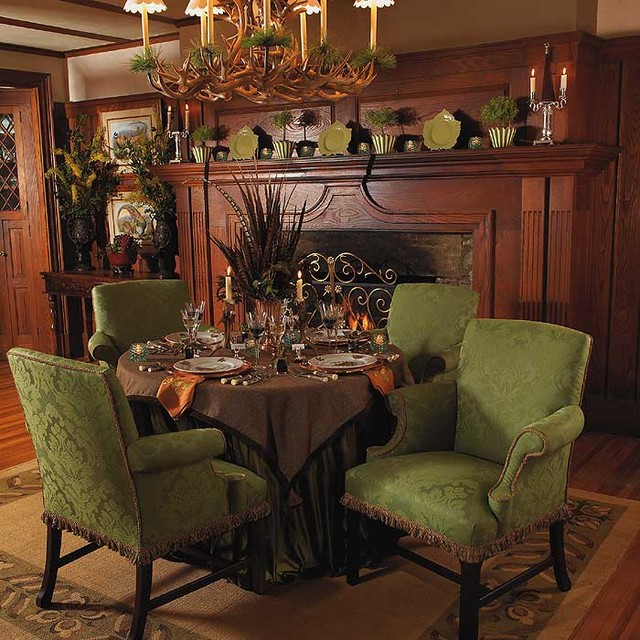 Alpine dining traditional dining room other metro for Traditional home decor