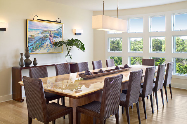 Superb Coastal Medium Tone Wood Floor Dining Room Photo In New York With Yellow  Walls Part 14