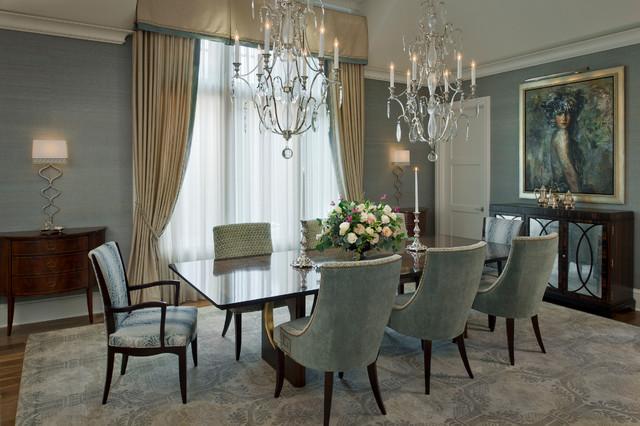 Неиссякаемый источник вдохновения для домашнего уюта: большая отдельная столовая в стиле современная классика с паркетным полом среднего тона, серыми стенами и коричневым полом без камина