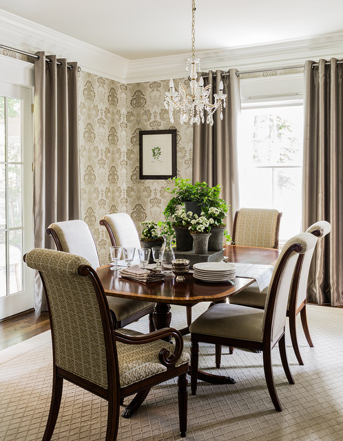 Example of a classic dark wood floor and brown floor dining room design in Boston with beige walls