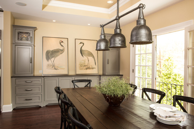 Ansley park transitional kitchen - Traditional farmhouse style dining table to enhance the room ...